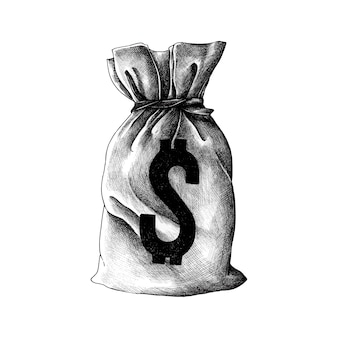 Dibujado a mano vieja bolsa de dinero