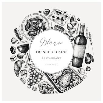 Dibujado a mano vinatge de cocina francesa. alimentos y bebidas delicatessen fondo de moda. perfecto para recetas, menús, etiquetas, iconos, envases. plantilla de bebidas y comida francesa vintage.