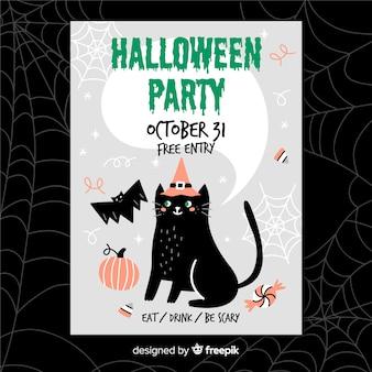 Dibujado a mano volante de halloween con gato negro