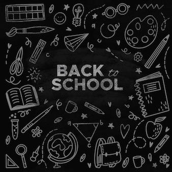 Dibujado a mano de vuelta al fondo de la escuela