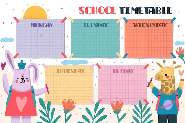 Dibujado a mano de vuelta al horario escolar