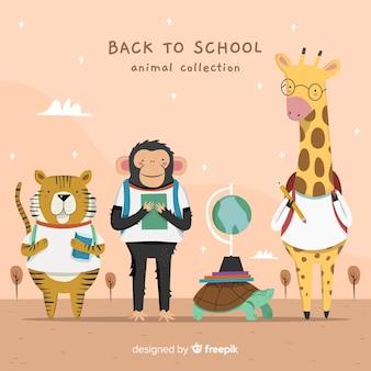 Dibujado a mano de vuelta al paquete de animales escolares