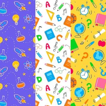Dibujado a mano de vuelta a la colección de patrones escolares