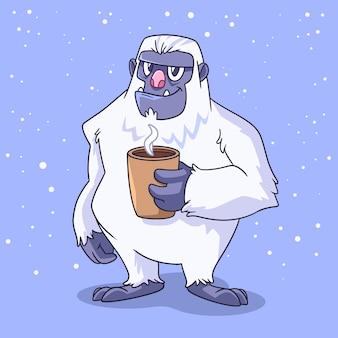 Dibujado a mano yeti abominable ilustración de muñeco de nieve