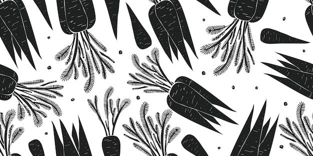 Dibujado a mano zanahoria de patrones sin fisuras.