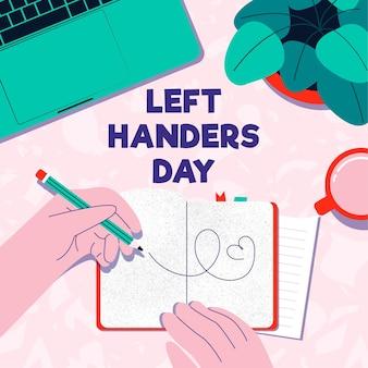 Dibujado a mano zurdos día con agenda