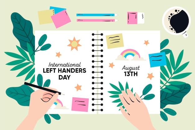 Dibujado a mano zurdos día