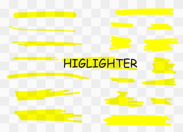 Dibujado rayas amarillas marcador.