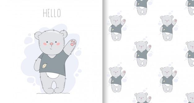 Dibujado tarjeta de felicitación y patrones sin fisuras con oso y palabra hola.