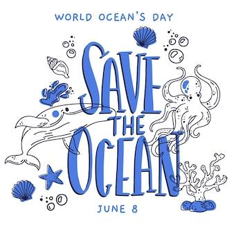 Dibujado el tema de la ilustración del día mundial de los océanos