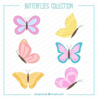Dibujados a mano mariposas conjunto