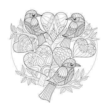 Dibujados a mano 3 pájaros y corazones