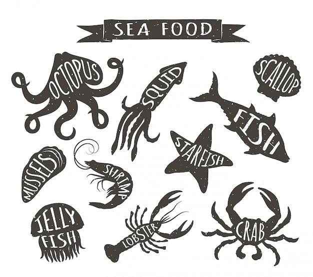 Dibujados a mano animales marinos, elementos para el menú del restaurante.