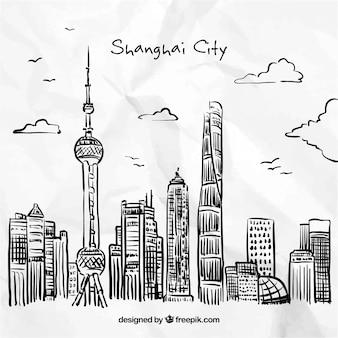 Dibujados a mano de la ciudad de shangai
