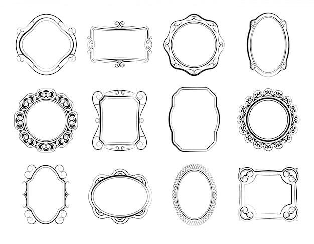 Dibujados a mano cuadrados y marcos de fotos