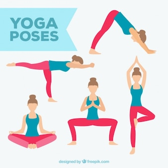 Dibujados a mano diferentes posturas de yoga