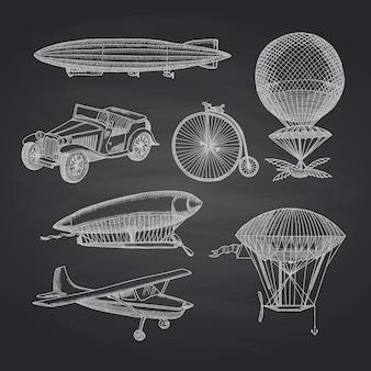 Dibujados a mano dirigibles, bicicletas y autos en pizarra negra