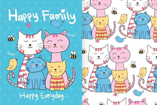 Dibujados a mano gatos lindos con patrones editables