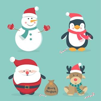 Dibujados a mano lindos personajes de navidad