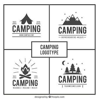 Dibujados a mano logotipos paquete de acampada