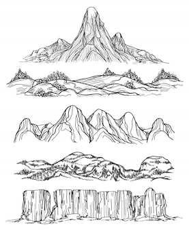 Dibujados a mano montañas y colinas