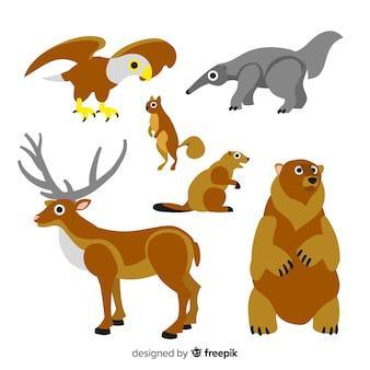 Dibujados a mano otoño animales del bosque