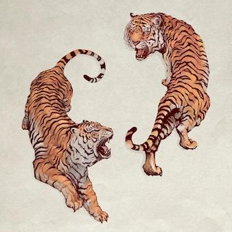 Dibujados a mano rugiendo tigres yin yang