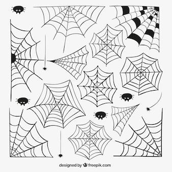 Dibujados a mano las telas de araña