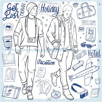 Dibujados a mano vacaciones hombres ilustración vacaciones