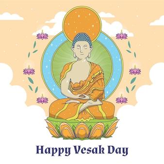 Dibujando con el concepto de feliz día de vesak