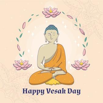 Dibujando con feliz celebración del día vesak