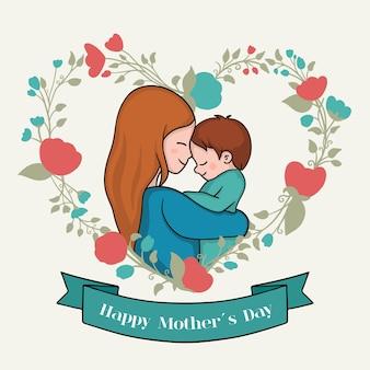 Dibujando con tema del día de la madre