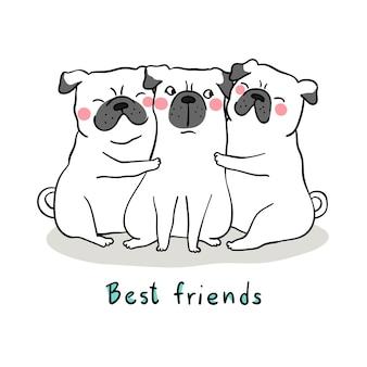 Dibujar abrazo de perro blanco pug con el mejor amigo de amor y palabra