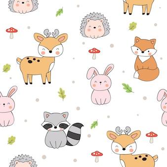 Dibujar animales del bosque de patrones sin fisuras