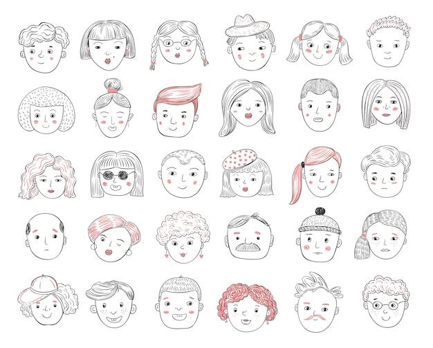 Dibujar avatares de personas. retratos femeninos y masculinos, rostros humanos, hombres y mujeres perfil de usuario doodle iconos conjunto de vectores