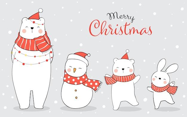 Dibujar banner animal feliz en la nieve para el invierno y la navidad.