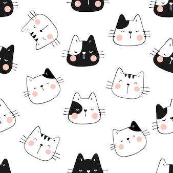 Dibujar cabeza divertida de gato de patrones sin fisuras.
