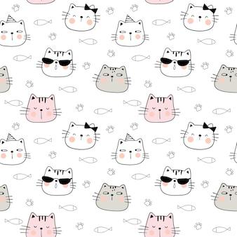 Dibujar la cabeza de un gato divertido de patrones sin fisuras. estilo doodle.