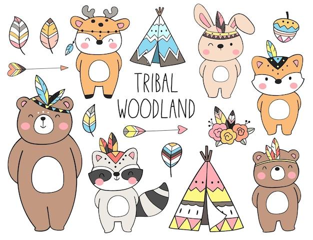 Dibujar colección animales tribales del bosque