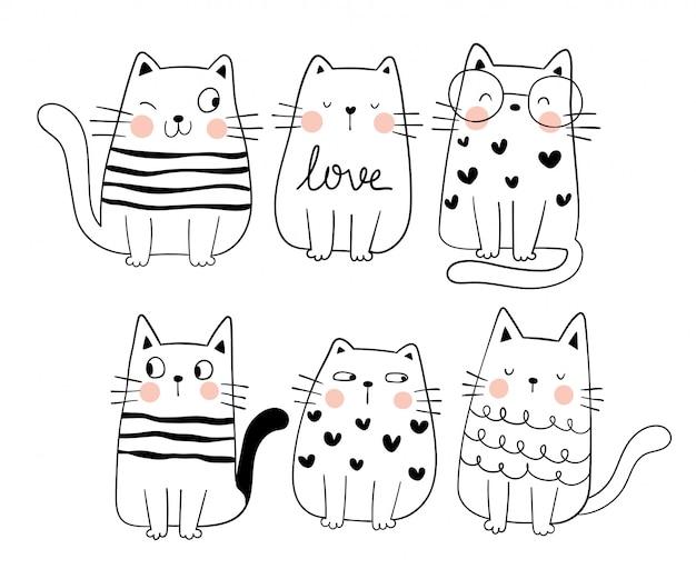 Dibujar colección boceto gato divertido estilo de dibujos animados doodle.