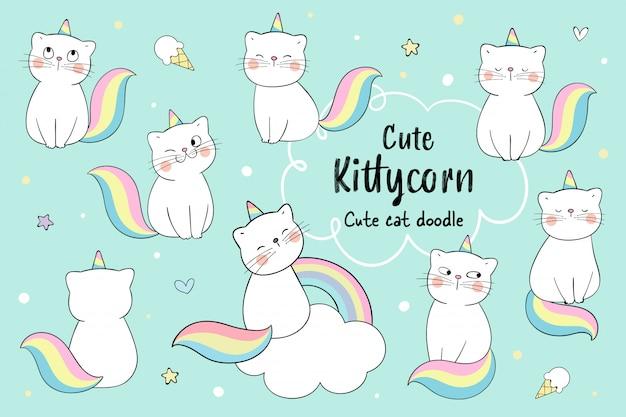 Dibujar colección lindo gato kittycorn concepto.