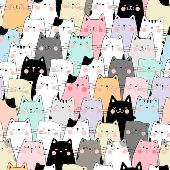 Dibujar color pastel gato de patrones sin fisuras