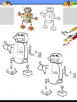 Dibujar y colorear actividad educativa con robot.