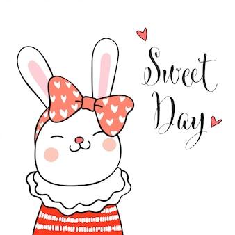 Dibujar conejo y arco de belleza en la cabeza con dulce palabra