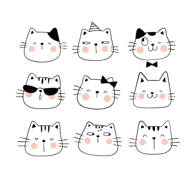 Dibujar conjunto cara gato lindo emoción divertida.