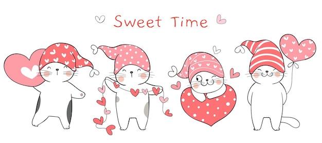 Dibujar dulce gato con corazón para san valentín