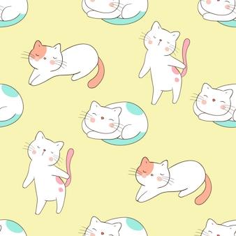 Dibujar sin fisuras patrón de gato en amarillo pastel.