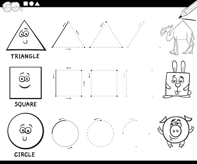 Dibujar formas geométricas básicas para colorear página | Descargar ...
