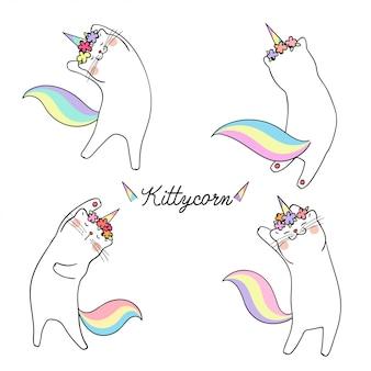 Dibujar gato blanco y palabra unicornio gatito