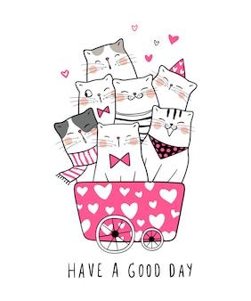 Dibujar gato en el carrito y decir tener un buen día